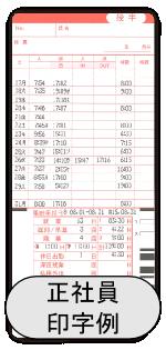 カルコロ100正社員使用印字例
